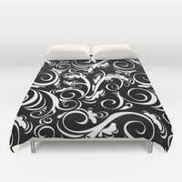 Black White Flora Duvet Cover by Beautiful Homes   Society6