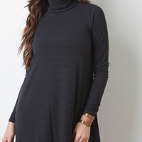 Striped Rib Knit Turtleneck Mini Dress