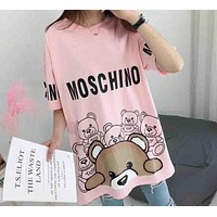 MOSCHINO Holiday Collection 2018 Women's Exquisite Bear Print Stylish T-shirt F-AA-SYSY Pink