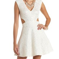 Textured & Foiled Cut-Out Skater Dress by Charlotte Russe - Champagne