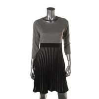 Calvin Klein Womens Knit Two-Tone Sweaterdress