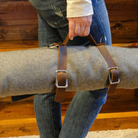 Stone Oiled Leather Blanket Carrier / yoga mat strap (Does not include Wool Blanket)