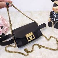 Givenchy Leather Metal Chain Crossbody Shoulder Bag