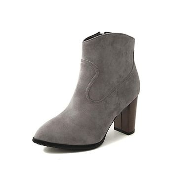 Pointed Toe Suede Block Heeled Ankle Boots Women Shoes 3624