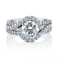 A Perfect 2.1CT Round Cut Russian Lab Diamond Halo Engagement Ring