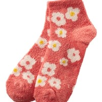 Shea-Infused Lounge Socks Coral Daisies
