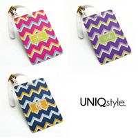 Chevron zigzag pu leather Luggage Tag with custom name or monogram, Office Tag, Travel Bag Tag with strap - personalized wedding tag - N25