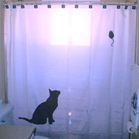Cat and Mouse Shower Curtain Mouse and Black Cat Mice hunt rat