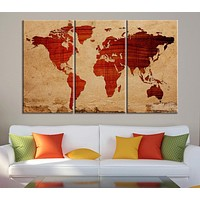 Canvas Print Wooden Background WORLD MAP Canvas Print 3 Panel Canvas Art Print Ready to Hang