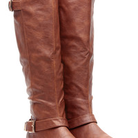 Chestnut Faux Leather Buckle Up Calf Length Riding Boots