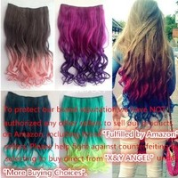 X&Y ANGEL -New One Piece Long Curl/curly/wavy Synthetic Thick Hair Extensions Clip-on Hairpieces 26 Colors (Dark Brown)