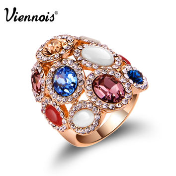 Viennois Wide Rose Gold Plated Rhinestone Colorful Multi Color Crystal Cocktail Ring Size 6 7 8 For Women
