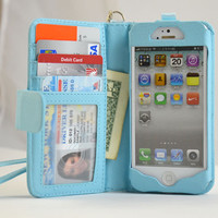 Navor Folio Wallet Leather Case iPhone 5 Blue BookBook Style Removable Strap