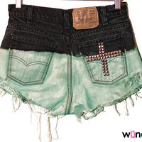 One-of-a-kind Black to Mint Ombre Shorts with Cross on Back Pocket