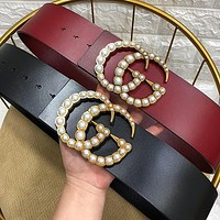 GUCCI new ladies large pearl buckle personality belt belt