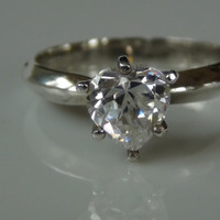 Heart Shaped Cubic Zirconia Sterling Silver 925 Ring