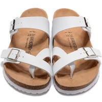 Birkenstock New Style Summer Fashion Leather Cork Flats Beach Lovers Slippers Casual Sandals For Women Men Couples Slippers triple White
