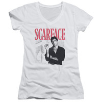 SCARFACE/STAIRWAY-JUNIOR V-NECK-WHITE