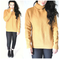 MUSTARD yellow wool TURTLE neck sweater vintage 70s 1970s RETRO pull over minimalist cable knit jumper medium