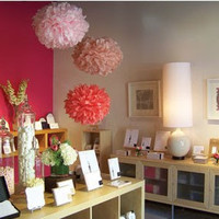 3 Large Paper Pom Poms - wedding - baby shower - birthday party decor - display - photo shoots - choose your colors - READY TO SHIP