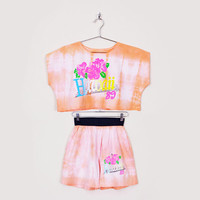 Orange Tie-Dye Shirt Tie-Dye Top Tie-Dye Print Hawaii Shirt Hawaii Top Crop Top 80s High Waist Short 2 Pc Outfit 2pc Outfit Set 80s L Large