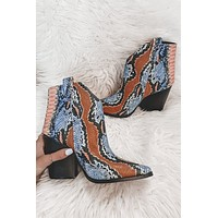 All Eyes On You Multi Color Snakeskin Booties
