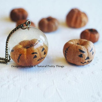Real Pumpkin Halloween Necklace Mini Tiny by NaturalPrettyThings