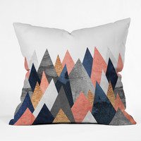 Elisabeth Fredriksson Pink And Navy Peaks Outdoor Throw Pillow