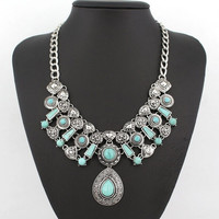 Bohemian Summer Jewelry Vintage Silver Gold Plated Chain Big Blue Turquoise Water Drop Statement Necklaces & Pendants for Women = 1928385284