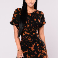 Vintage Bleach Dress - Black/Rust