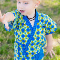 Japanese Jinbei Oufit for Little Boys, Ninja Shirt and Shorts Set, Karate Kids Clothes in sizes 2T 3T 4T 5 6 7 8 10 years