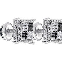 Diamond Micro-pave Earrings in White Gold-plated silver 0.12 ctw