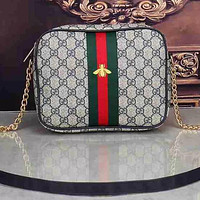 GG Bee bag Leather Shoulder Bag Crossbody Satchel bag Square bag Green