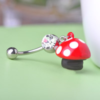 Crystal Ball With  Mushroom Belly Button Ring