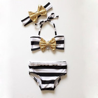 Summer Bikini Butterfly Striped Baby Girls Striped Bow Bikini Set Swimwear Swimsuit Swimming Bathing Beachwear High Quality