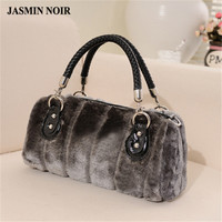 2015 new woman winter handbags faux rabbit fur high quality ladies soft feel plush bag female grey wool tote bag sac a main