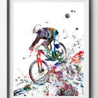 Mountain Biker watercolor print Off-Road Bicycling print mountain biker riding rocks poster mtb freerider sport art cycling art [296]