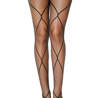 Black Cross Net Tights