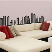 Skyline Wall Decor - Peel N Stick Dorm Decor Details Look Cool Items Decorations College