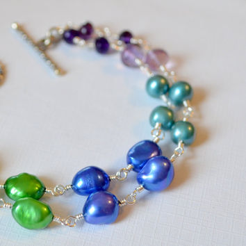 NEW Double Strand Pearl Bracelet, Amethyst, Black Tourmaline, Peridot Gemstones, Peacock Colors, Sterling Silver Jewelry, Free Shipping
