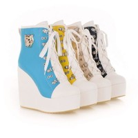 CHIC Womens Bluckle Lace Up Wedge High Heel Platform Boot Sneakers Shoes Plus Sz