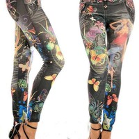 Leggings Denim Print Cropped Pants [6048607169]