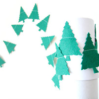 Felt Christmas Tree Garland - Holiday Decoration - Christmas Garland, Christmas Bunting