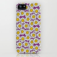 Purple Smiley Daisy Flower Pattern iPhone & iPod Case by Hippy Gift Shop