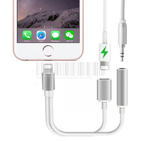 2 in 1 For Lightning 3.5mm Charging Audio Adapter For iPhone 7 Plus Headphone Earphone Jack Charger Cable Connector Aux Cable @