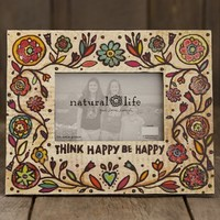 Think  Happy  Be  Happy  Art  &  Soul  Wood  Frame  From  Natural  Life