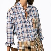 BURBERRY Women Men Casual Plaid Joining Together Long Sleeve Polo Shirt Top