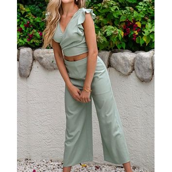 Happy Feelings Ruffled Sleeveless Top and Pants Set in Sage