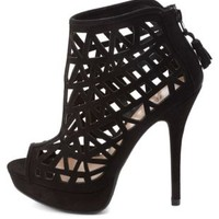 Laser Cut-Out Peep Toe Booties by Charlotte Russe - Black