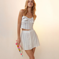 Striped Tie Front Linen-Blend Cropped Cami